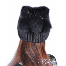 "Женская шапка ""Санта-Фе"" из меха ондатры с бубонами"